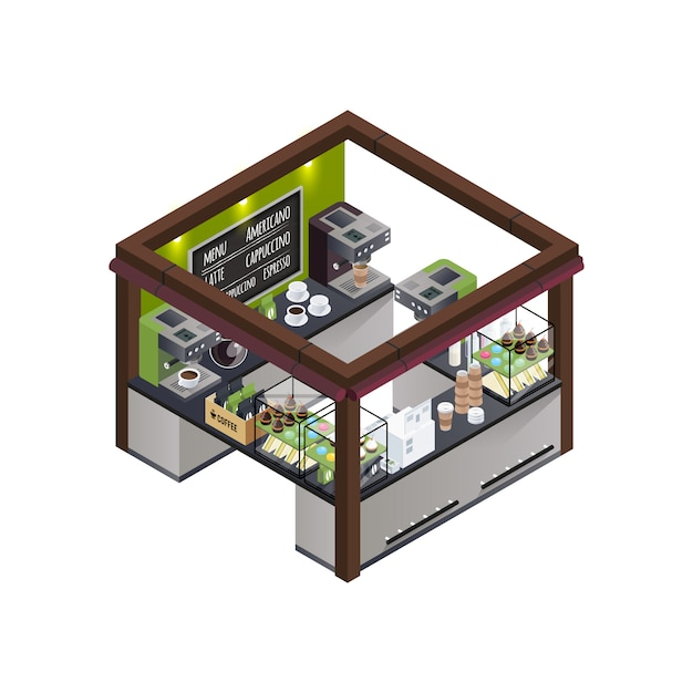 Coffee kiosk isometric composition Free Vector