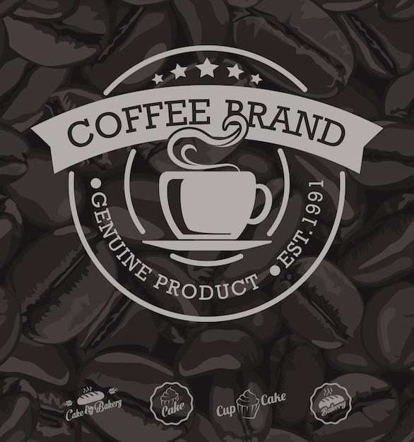 コーヒーラベルとコーヒー豆の背景 Premiumベクター