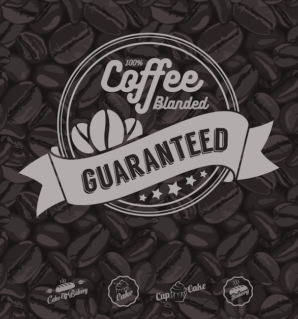 Coffee labels and coffee beans background Premium Vector