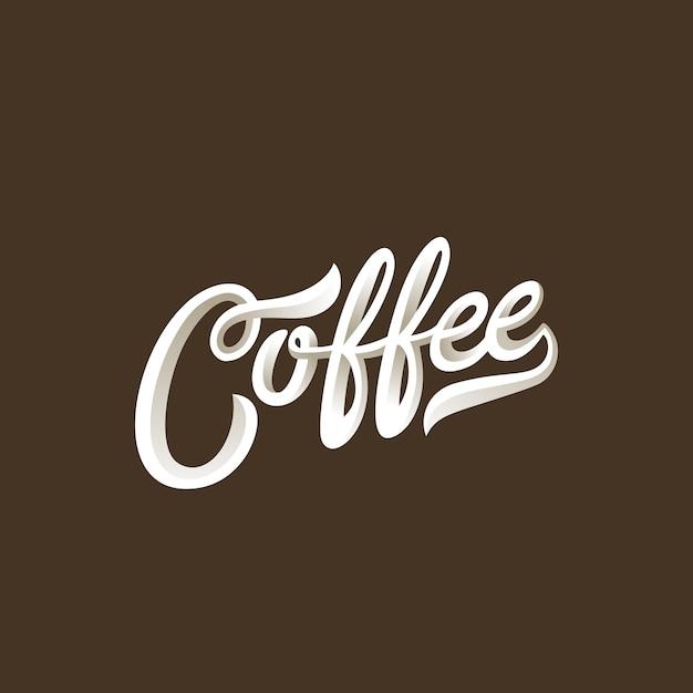 Coffee lettering calligraphic vintage composizione Vettore gratuito