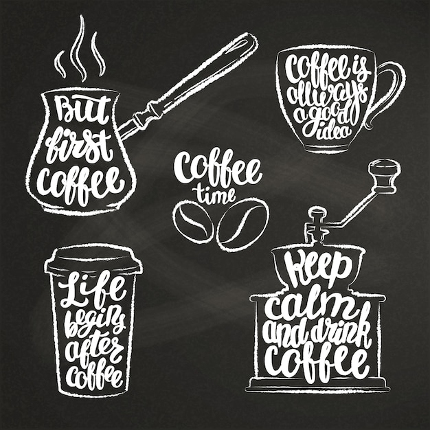 Coffee lettering in cup, grinder, pot chalk shapes. Premium Vector