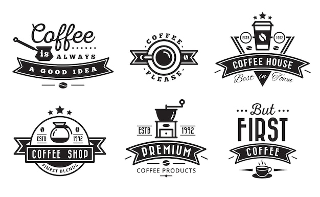 Coffee logo badge and label for cafe Premium Vector