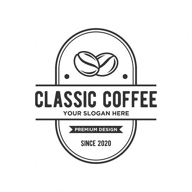 楕円形のバッジとコーヒーのロゴのコンセプト Premiumベクター