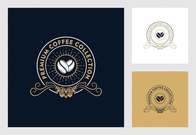 ビンテージスタイルのコーヒーのロゴデザイン Premiumベクター