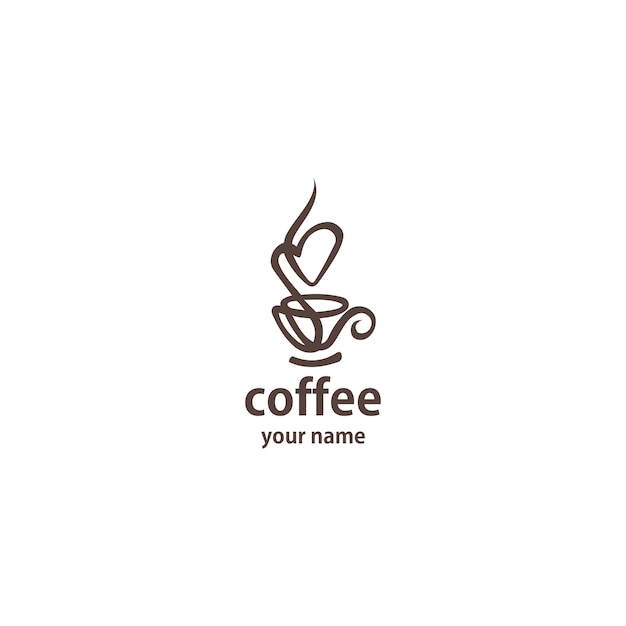 Coffee logo design vector template  line art. Premium Vector