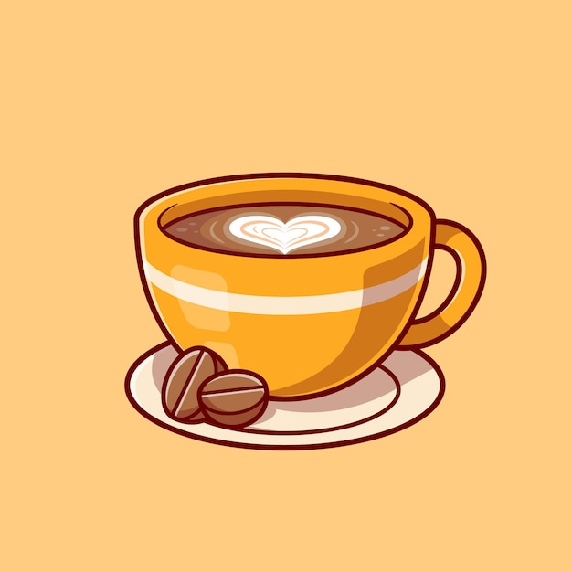 Coffee love foam with beans cartoon icon illustration. Free Vector
