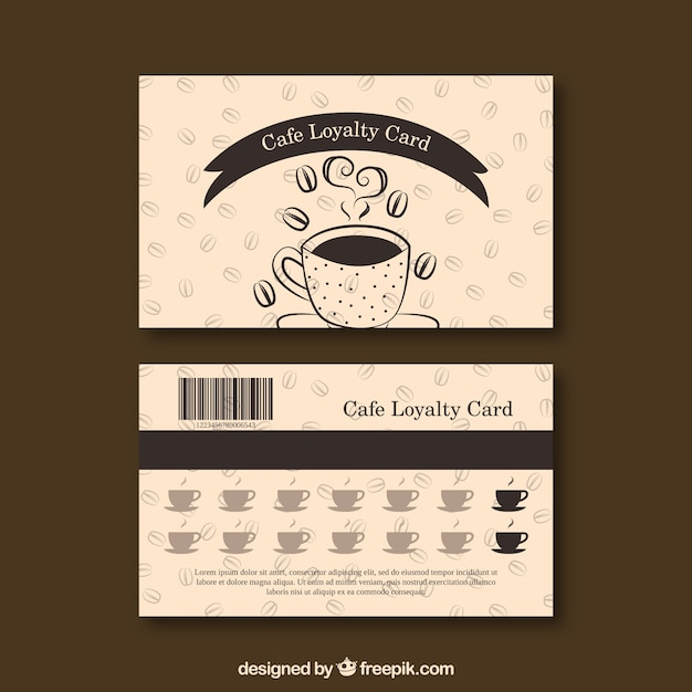 Coffee loyalty card template Free Vector