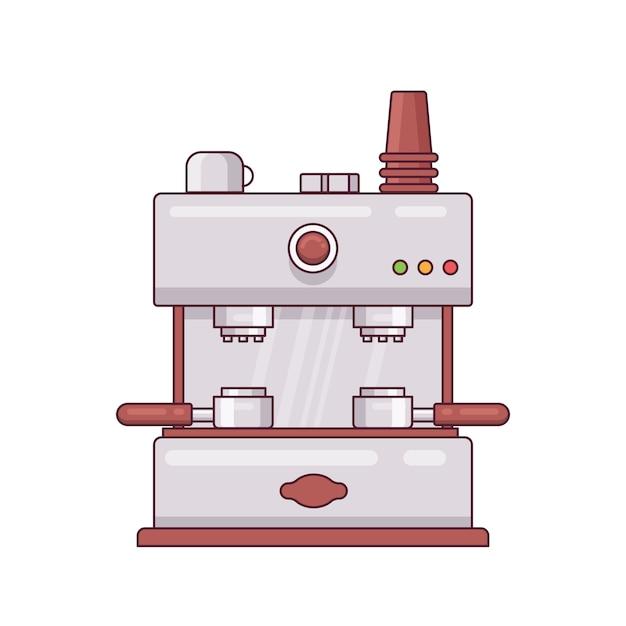Coffee machine retro icon minimal flatline design vector illustration Premium Vector