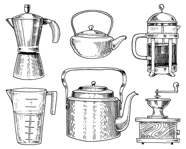 Coffee maker or grinder, french press, measuring capacity, chinese teapot or kettle. Premium Vector