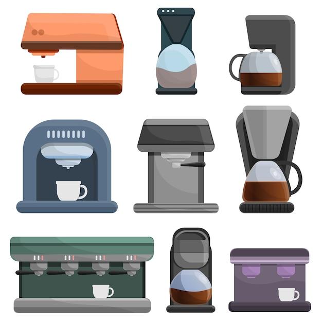 Coffee maker icon set, cartoon style Premium Vector