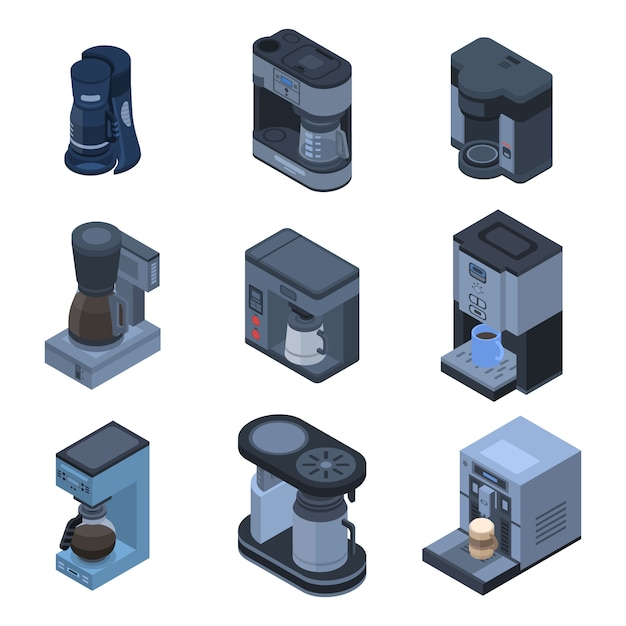 Coffee maker icon set. isometric set of coffee maker vector icons for web design isolated on white background Premium Vector