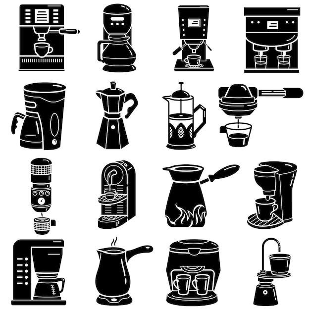 Coffee maker icons set, simple style Premium Vector