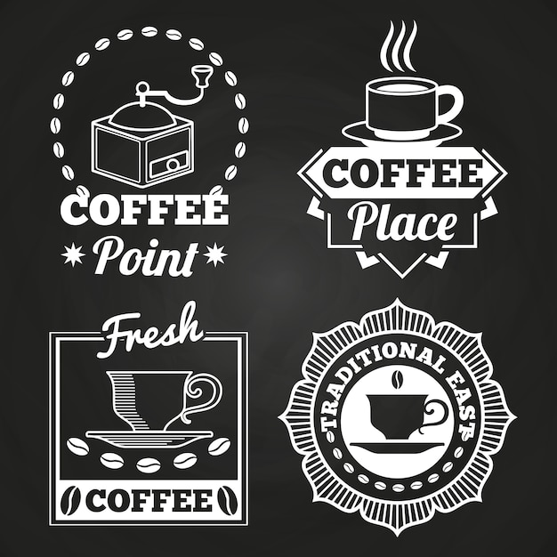 Coffee market shop and cafe label collection on chalkboard Premium Vector
