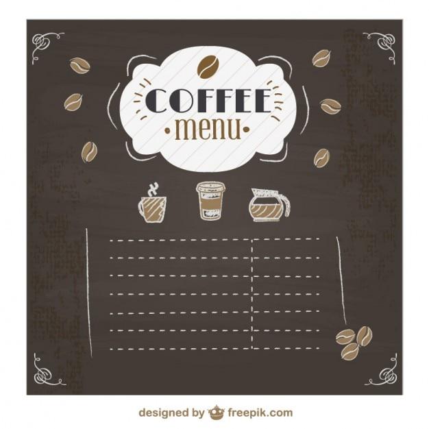 coffee menu chalkboard design vector free download