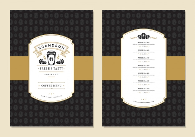 Coffee menu design template flyer for bar or cafe with offee shop logo cup symbol. Premium Vector