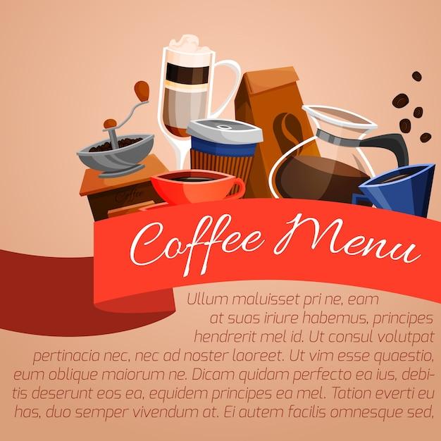 Poster del menu caffè Vettore gratuito