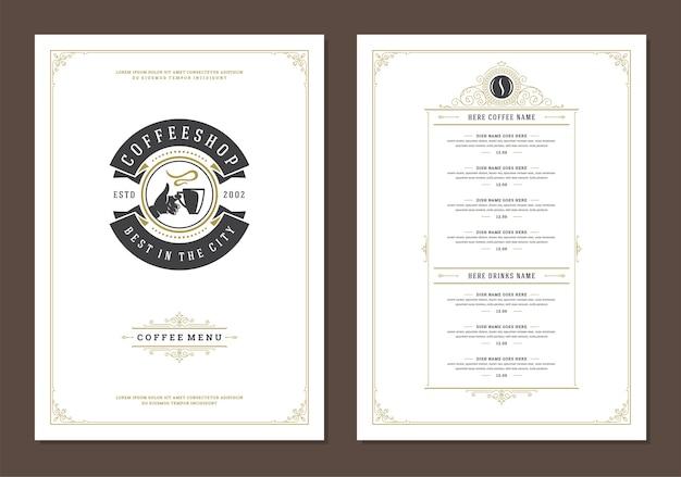 コーヒーマグのシンボルとレトロな活版印刷のバーやカフェのコーヒーメニューテンプレートデザインチラシ Premiumベクター