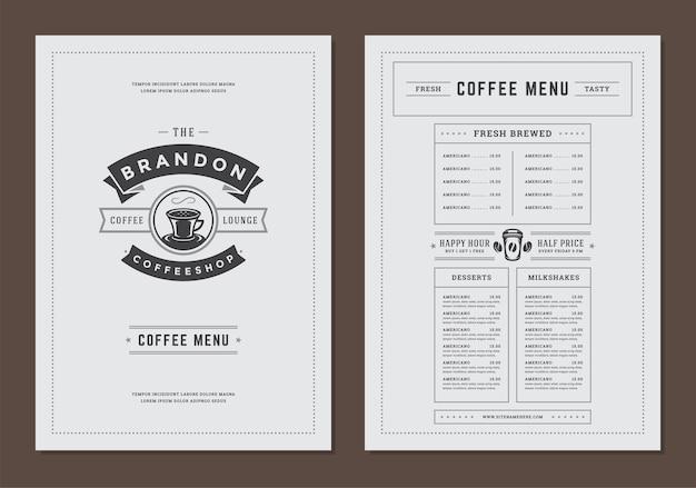 バーやカフェのコーヒーメニューテンプレートデザインチラシ Premiumベクター