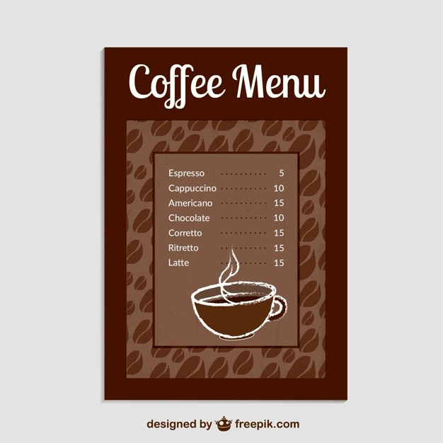 Coffee menu template vector free download for Coffee price list template
