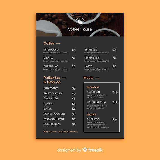 Coffee menu template Free Vector