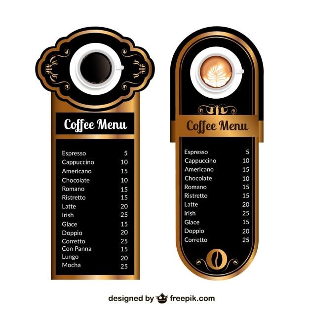 Coffee Menu Templates Vector