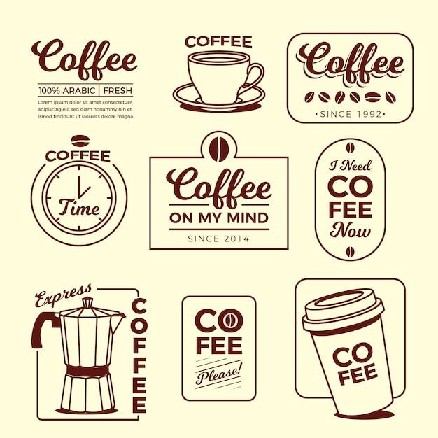 Кофе минимальный логотип элемент коллекции Premium векторы
