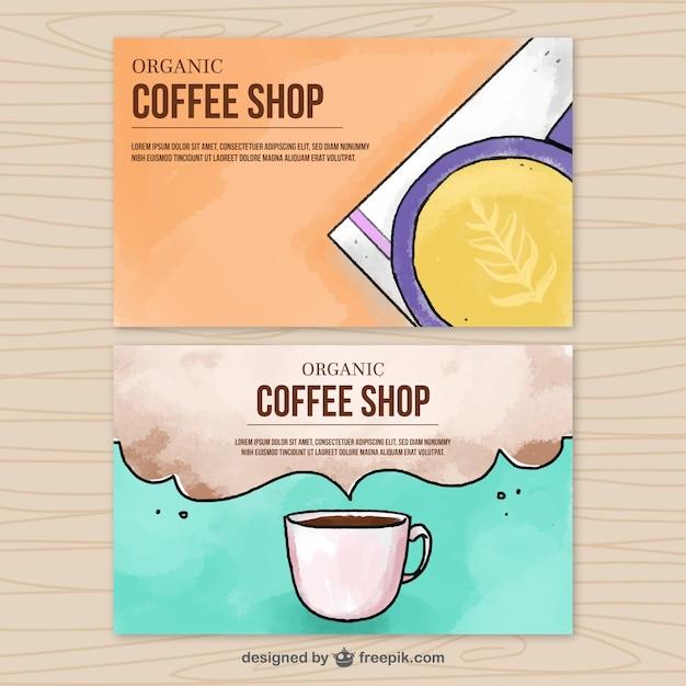 Coffee mug watercolor banners