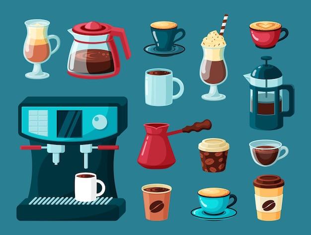 Кофейные кружки. чайник и чашки горячие энергетические напитки латте американо капучино в прозрачных стаканах кофеварка Premium векторы