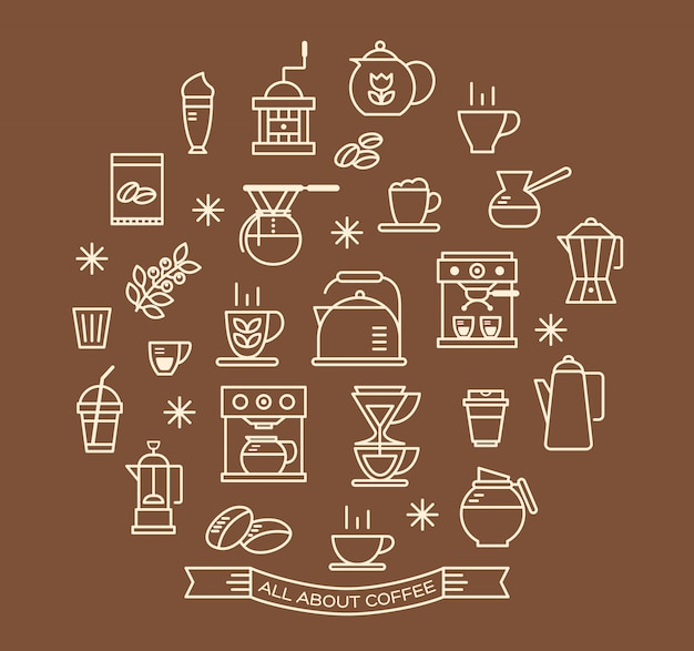 Coffee outline icons set Premium Vector