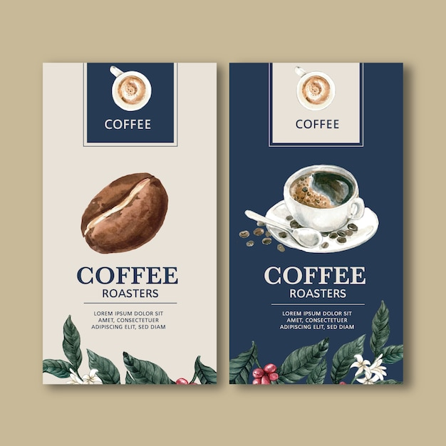 Coffee packaging bag with branch leaves bean, maker machine,watercolor illustration Free Vector