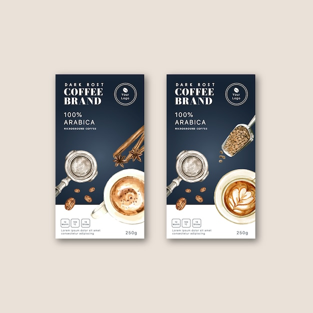 Coffee packaging bag with coffee cup americano,, watercolor illustration Free Vector
