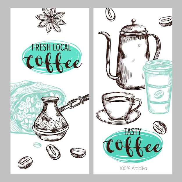 Coffee packaging illustration set Free Vector