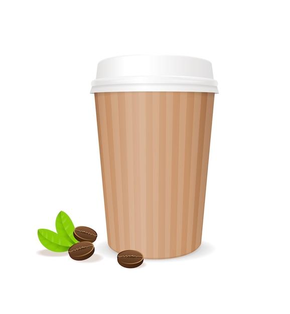 Кофейный бумажный стаканчик с фасолью. контейнер для кофе, изолированные на белом фоне Premium векторы