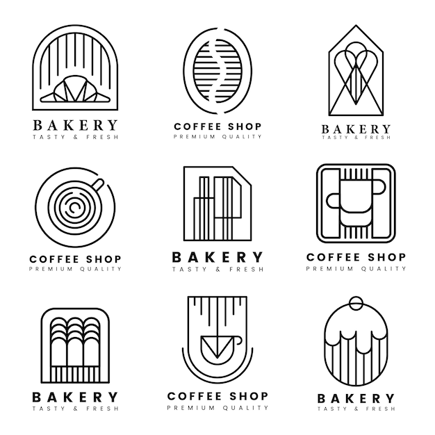 Coffee and pastry shop logo vector set Free Vector