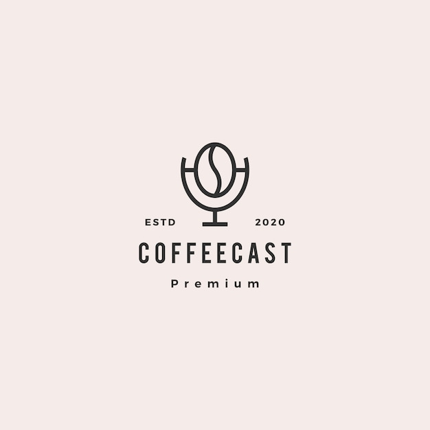 Coffee podcast logo hipster retro vintage icon for coffee blog video review vlog channel radio broadcast Premium Vector