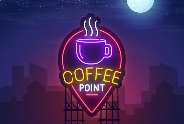 Coffee point неоновая вывеска Premium векторы