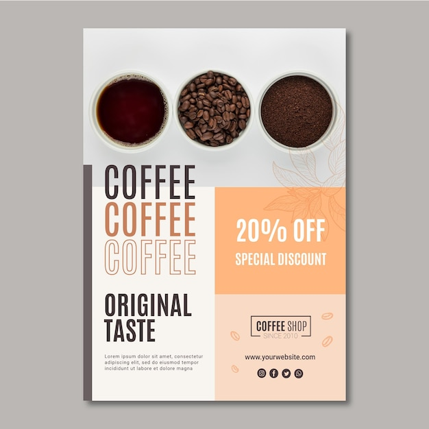 Coffee poster template Premium Vector