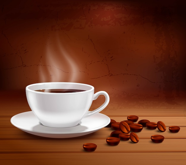 Coffee poster with realistic white porcelain cup on textured background Free Vector