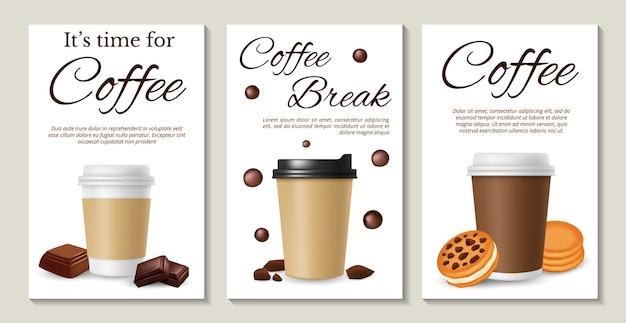 Кофейные плакаты. реалистичный кофе на вынос печенье и шоколад Premium векторы