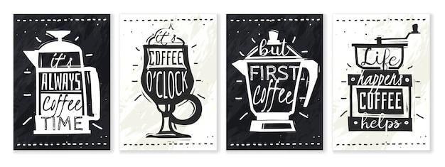 Набор кофейных плакатов. Premium векторы