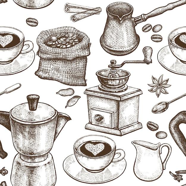 コーヒーポット、コーヒーグラインダー、コーヒーカップ、ドーナツ Premiumベクター