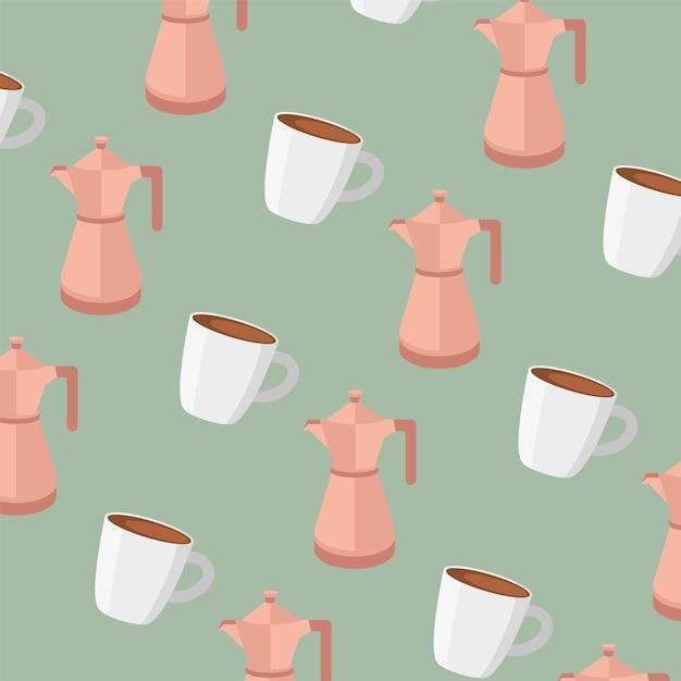 コーヒーポットとマグカップのシームレスなパターン Premiumベクター