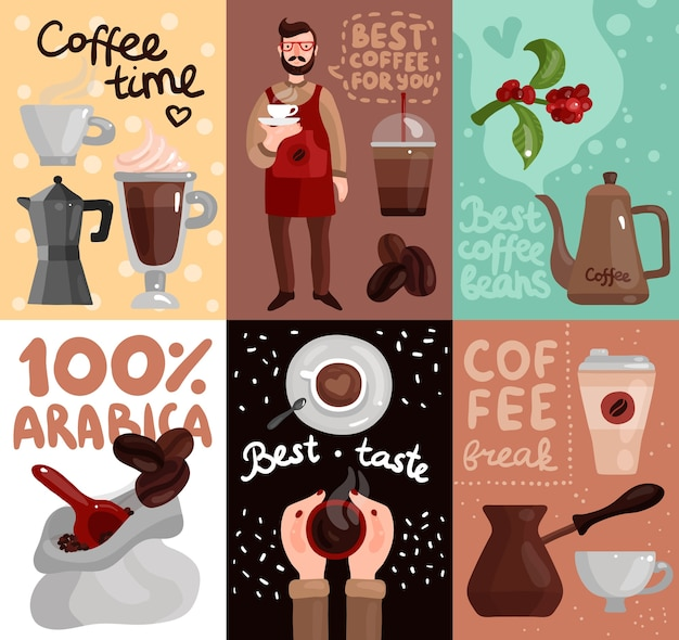 Schede produzione caffè con pubblicità dei migliori chicchi di caffè e gusto Vettore gratuito