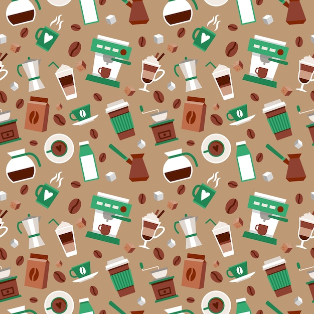 Coffee seamless pattern decorative background\ with coffee-bulb turk french press vector illustration