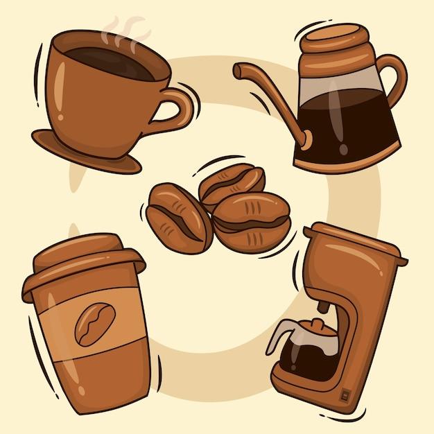 Кофейный сервиз. горячие кофейные напитки в чашках, растворимый кофе в бутылках и кофеварка Premium векторы