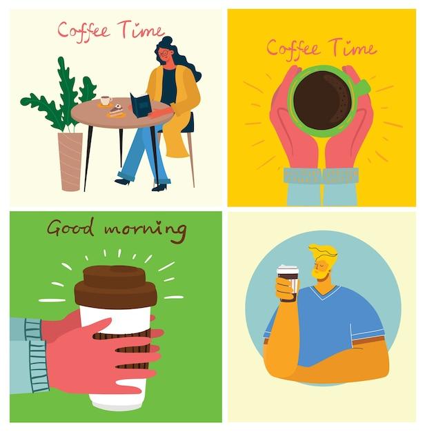 Coffee set illustrations. Premium Vector