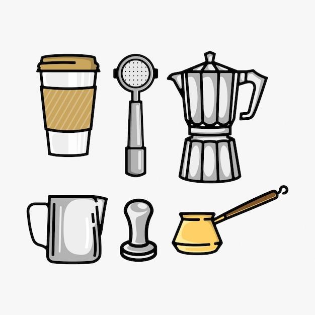 Coffee set vector collection Premium Vector