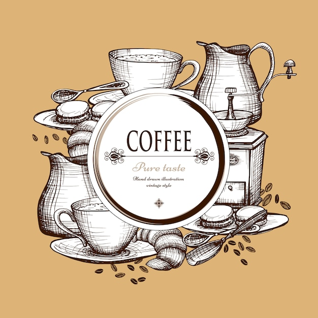 Coffee set vintage style composition poster Free Vector