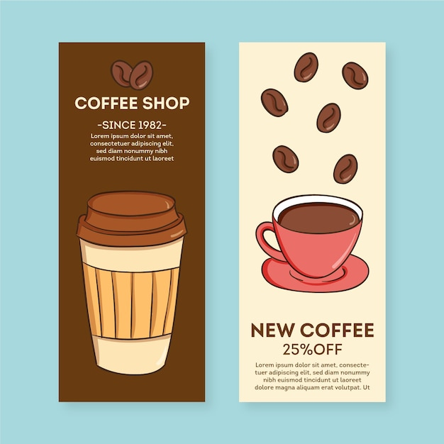 Coffee shop banner pack template Free Vector
