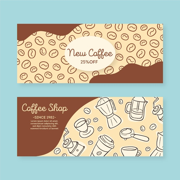 Coffee shop banner set template Free Vector